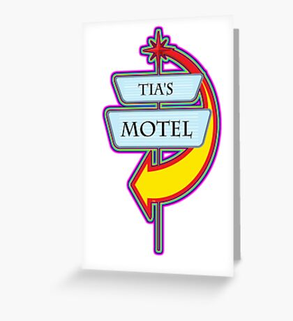 Tia's Motel campy truck stop tee  Greeting Card