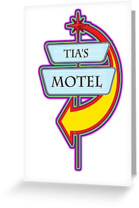 Tia's Motel campy truck stop tee  by Tia Knight