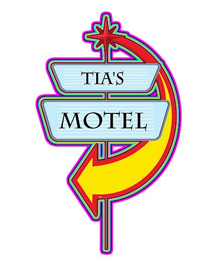 Tia's Motel campy truck stop tee  by Tia Knight