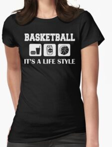 Eat Drink Beer Basketball Womens Fitted T-Shirt