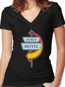 Anne's Motel campy truck stop tee  Women's Fitted V-Neck T-Shirt