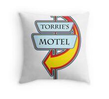Torrie's Motel campy truck stop tee  Throw Pillow