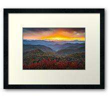 Blue Ridge Parkway Autumn Sunset NC - Rapture Framed Print