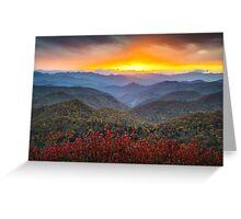 Blue Ridge Parkway Autumn Sunset NC - Rapture Greeting Card