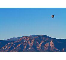 Boulder Colorado Flatirons Hot Air Balloon View  Photographic Print