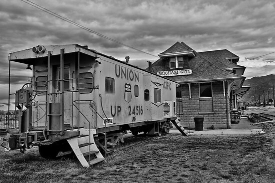 Steel Caboose and Train Depot by thecameraman