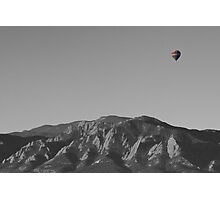 Boulder Colorado Flatirons Hot Air Balloon View BW Photographic Print