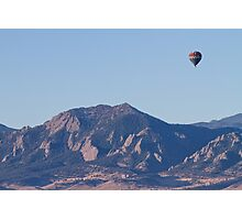 Colorado Rocky Mountain Front Range Hot Air Balloon View  Photographic Print
