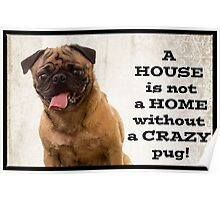 A House is not a home without a crazy pug Poster