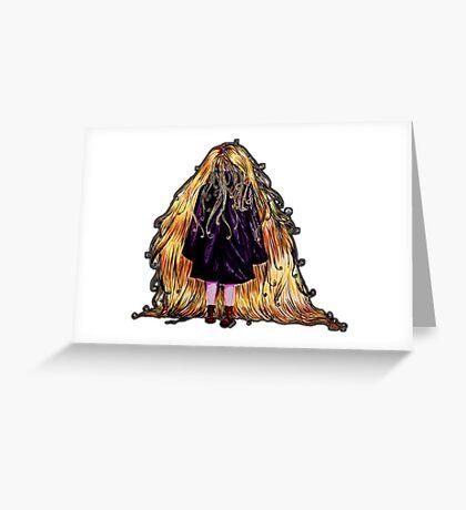 Faceless Girl au manteau et liseré noir Greeting Card