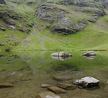 Refelections - Levers Water, Coniston, Lake District by a h
