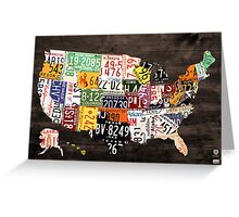 License Plate Map of the United States of America - Warm Colors / Black Edition Greeting Card