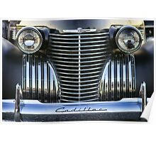 Black Cadillac Grill and Headlights Poster