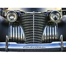 Black Cadillac Grill and Headlights Photographic Print