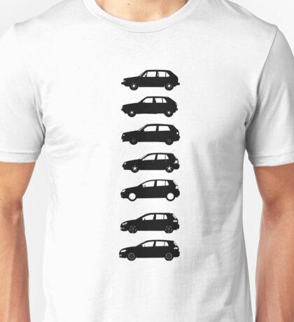 VW Golf Black Mk1-Mk7 Unisex T-Shirt