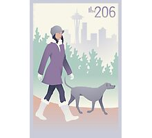 Walking the Dog in Seattle Photographic Print