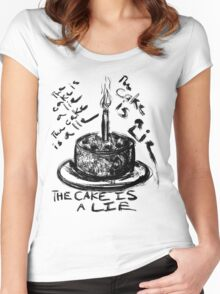 The Cake is a Lie Women's Fitted Scoop T-Shirt
