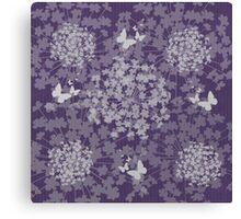 Flutter Among the Flowers Purple and Grey Canvas Print