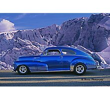 Custom Blue Street Rod at the Glacier in Whistler Photographic Print