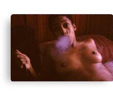 Lydia Blowing Smoke Canvas Print