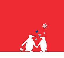 Penguin Couple Red Heart Love Snow by carmanpetite