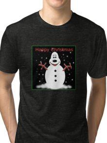 Happy Christmas Snoooowman Tri-blend T-Shirt