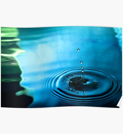Water Droplets Blue/Green Poster