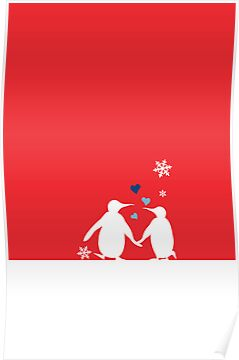 Penguin Couple Red Heart Love Snow by carmanpetite