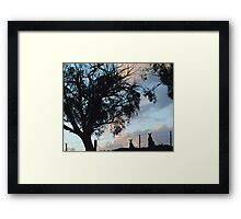 Kangaroos in Silouette, under the Gum tree - Whittlesea, Victoria Framed Print