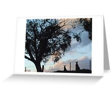 Kangaroos in Silouette, under the Gum tree - Whittlesea, Victoria Greeting Card
