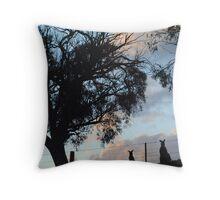 Kangaroos in Silouette, under the Gum tree - Whittlesea, Victoria Throw Pillow