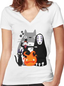 Ghibli'd Away Women's Fitted V-Neck T-Shirt