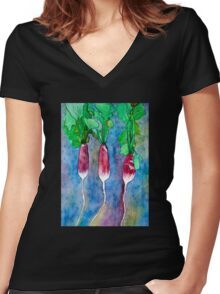 French Breakfast Radishes Women's Fitted V-Neck T-Shirt