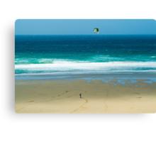 Kiteboarding in Cornwall. Canvas Print