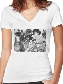 Studio Ghibli montage Women's Fitted V-Neck T-Shirt
