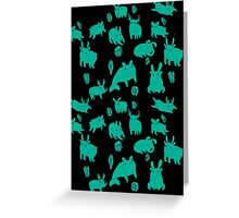 Weebeasts (teal) Greeting Card