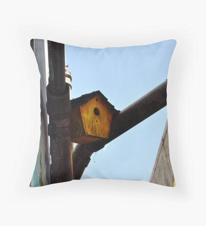 Urban Bird House Throw Pillow