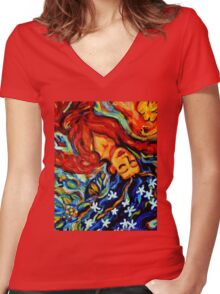 Inspiration: Sea Cucumber 3 dreaming woman angel Women's Fitted V-Neck T-Shirt