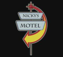 Nicky's Motel campy truck stop tee  by Tia Knight