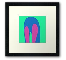 Nouveau Retro Graphic Teal Blue Pink Framed Print
