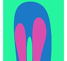 Nouveau Retro Graphic Teal Blue Pink Photographic Print