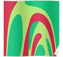 Nouveau Retro Graphic Red and Green Poster
