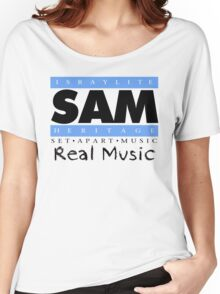 S.A.M. REAL MUSIC BLK LETTERS Women's Relaxed Fit T-Shirt