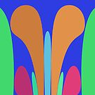 Nouveau Retro Graphic in Blue Orange Green by Anthony Ross