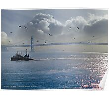 Fire Boat and the Gulls Poster