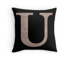 Letter U Metallic Look Stripes Silver Gold Copper Throw Pillow