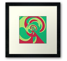 Nouveau Retro Graphic Green and Red Framed Print