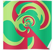 Nouveau Retro Graphic Green and Red Poster