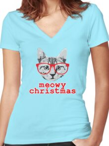 Funny Christmas - Meowy Christmas Women's Fitted V-Neck T-Shirt