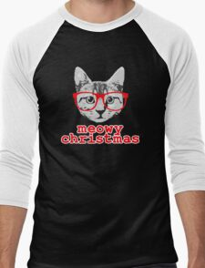 Funny Christmas - Meowy Christmas Men's Baseball ¾ T-Shirt